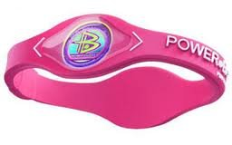 Power Balance Bracelet Wristband Pink w/ White Lettering, Size Small