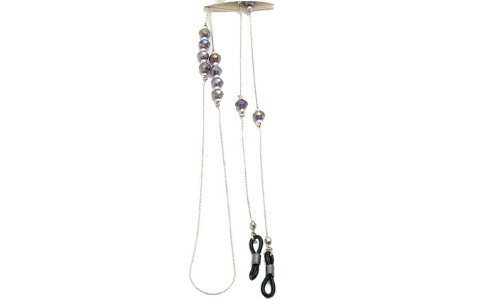 About Eyes A179-000 Glasses Chain with Iridescent Purple Beads Long Silver by About Eyes