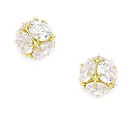 14ct Yellow Gold CZ Medium Disco Ball Screwback Earrings - Measures 7x7mm