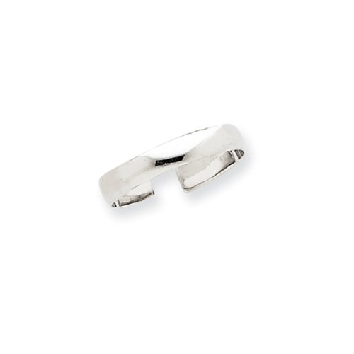 High Polished Toe Ring in 14 Karat White Gold