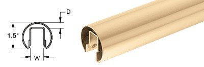 """Crl 1-1/2"""" Polished Brass Premium Cap Rail For 1/2"""" Glass - 120 In Long front-798376"""