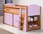 PINE & PINK MIDSLEEPER CABIN BED, WITH CHEST OF DRAWERS, PULL OUT DESK AND BOOKCASE CENTURION PINE