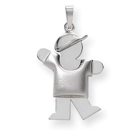 14k White Gold Puffed Boy with Hat on Left Engraveable Charm - JewelryWeb