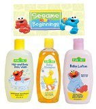 Sesame Street New Beginnings 3 Pc. Bundle Baby Care Gift Set - Includes: Body Baby Wash, Baby Shampoo & Baby Lotion! Gentle & Mild Hypo-Allergenic Formula! Featuring Elmo & Big Bird!
