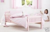 PINK JUNIOR/TODDLER BED PLUS MATTRESS, QUILT, PILLOW  &  PINK GINGHAM BEDDING