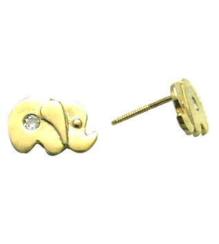 14K Yellow ELEPHANT BABY SCREW Earring