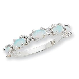 Genuine IceCarats Designer Jewelry Gift Sterling Silver Created Opal & Cz Ring Size 6.00