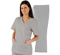 Medical Scrubs - Women's Mock Wrap/Flare Pant Set (Gray, X-Small)