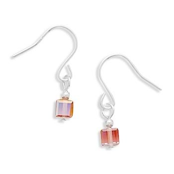 Fuchsia Crystal Cube Earrings on French Wire