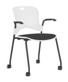 Stackable Caper Side Chair by Herman Miller - Black Frame - Black FlexNet Seat - Carpet Casters - Alpine