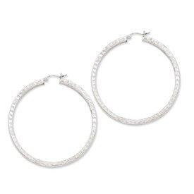 PriceRock Sterling Silver Diamond Cut Square Hoop Earrings