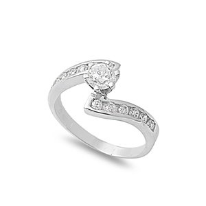 Sterling Silver Engagement Ring with Cubic Zirconia (Available in Size 5, 6, 7, 8, 9) (6)