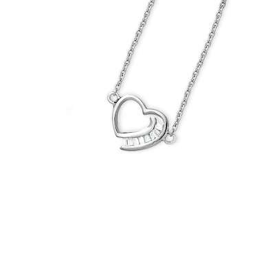 Pleasant 925 Sterling Silver Chain Necklace with Baguette CZ Diamonds Invisible Set Designed Pendant(WoW !With Purchase Over $50 Receive A Marcrame Bracelet Free)