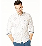 North Coast Pure Cotton Slim Fit Guitar Print Shirt