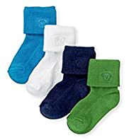 4 Pairs of Cotton Rich Assorted Baby Socks
