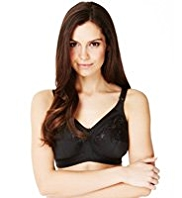 Total Support Non-Wired Floral Embroidered Crossover B-G Bra