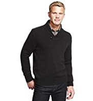 XS Blue Harbour Pure Cotton Shawl Collar Jumper