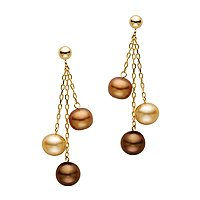 14kt. Yellow Gold, Multi Colored Chocolate Pearl Drop Earrings