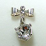 Jewelry Nail プリティネイル チャーミングリボンー2 ハートストーン シルバー PNー0305R