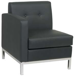 Left Arm Facing Wall Street Modular Component with Chrome Finish Base (Part of Love Seat or Sofa) (