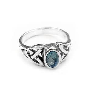 Sterling Silver Blue Topaz Celtic Knot Ring(Sizes 4,5,6,7,8,9)