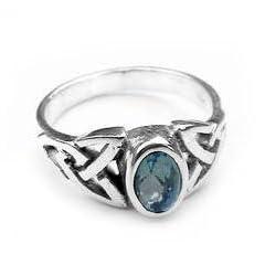 Sterling Silver Blue Topaz Celtic Knot Ring