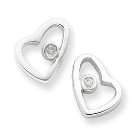 Sterling Silver Diamond Heart Earrings