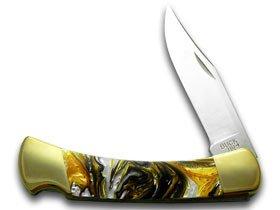BUCK 110 Custom White Buffalo Corelon Folding Hunter Pocket Knives