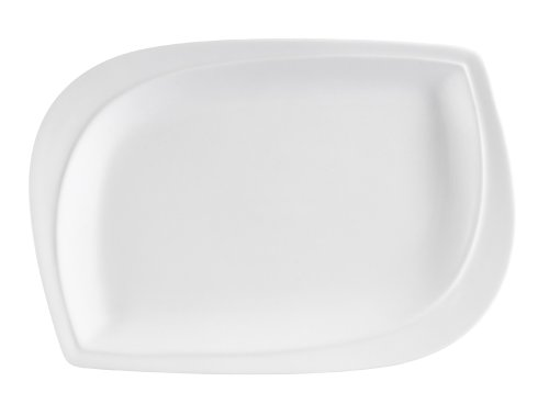 CAC China ASP-12 Aspen Tree 10-Inch by 7-Inch New Bone White Porcelain Leaf Shape Rectangular Platter, Box of 12