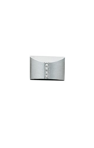 14K White Gold Pillow Tie Tac with Row of Diamonds-86469