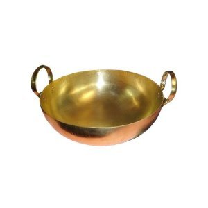 "Thai Wok Brass Pan Home Cooking Food and Dessert for Thai Chinese Japanese Korean Restaurant - Size 8"" Durable and Great Heat Control Made in Thailand"