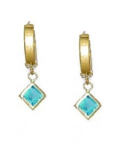 14ct Yellow Gold 5 mm Princess Aquamarine-Blue CZ Drop Earrings