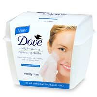 Dove Daily Hydrating Cleansing Cloths with Vanity Case, Regular, 30 Count