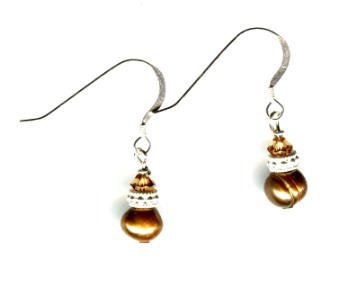 Fresh Water Champagne Pearl and Swarovski Crystal earrings