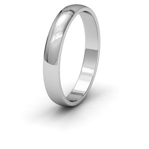 9ct White Gold, 3mm Wide, 'D' Shape Wedding Ring - Size I