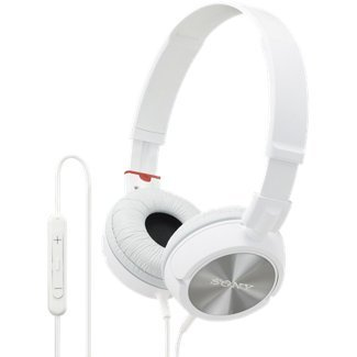 Sony White Lightweight Zx Series On-Ear Headphones With In-Line Microphone And Remote Control For Apple Iphone, Ipod Or Ipad