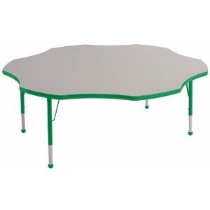 "Ecr4Kids 60"" Flower Shaped Adjustable Preschool Activity Table Gray Edge Banding Green Leg Color Green Leg Style Standard Leg Ball Glides front-846087"