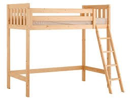 Short Bed - Loft Bunk Bed - 2ft 6 x 5ft 9 small single wooden high sleeper bunkbed - Ladder can go left or right - VERY STRONG - Includes 20cm thick QUILTED sprung mattress
