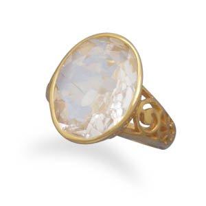 Sterling Silver 14 Karat Gold Plated White Quartz Ring / Size 7