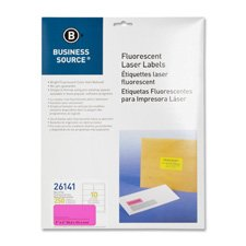Business Source Yellow Fluorescent Laser Labels - Pack of 250