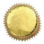 Juego de envoltorios para magdalenas, 50 milímetros, 45 unidades, color dorado