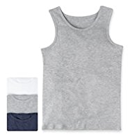 3 Pack Autograph Superfine Pure Cotton Marl Vests