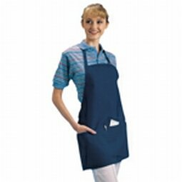 """Chef Revival 602BAFH Poly Cotton """"Front of the House"""" Professional Bib Apron with 3 Compartment Front Pocket, 25 by 28-Inch, Navy Blue"""