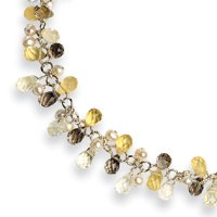 Sterling Silver Smokey/Yellow/Clear Quartz & Cultured Pearl Necklace - QH2162-14.5