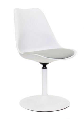 3303-412 TEQUILA - Designer Esszimmerstuhl Viva, Kunststoffschale mit Sitzkissen in Lederoptik, Untergestell Metall, pulverbeschichtet, 83 x 49 x 53 cm, weiß / grau