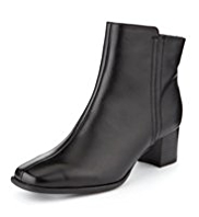 M&S Collection Leather Wide Fit Block Heel Ankle Boots