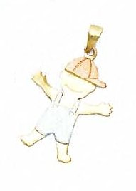 14k Two-Tone Boy Pendant - JewelryWeb