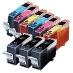 New Compatible Canon BCI-3 Black/Cyan/Magenta/Yellow Ink Cartridges. Value Pack of 3 Black & 2 Each Color - Sold by Geoinkonline