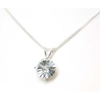 "925 Silver CZ Multi Faceted Round Pendant, 18"" Chain"