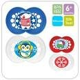 MAM NEW * WINTER/CHRISTMAS * ORTHODONTIC SOOTHER 6M+ BPA FREE 2 IN PACK. (blue/red/white)